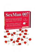 Aphrodisiaque SexMan 007 - 20 gélules - 20 Gélules aphrodisiaques pour hommes, pour booster la virilité et les performances sexuelles.