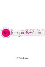 Pack 5 stickers J&M n°7 - Pack de 5 Stickers Jacquie & Michel  (dimensions 12 x 2.9 cm) à coller où vous voulez.