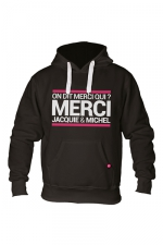 Sweat à capuche J&M Classique - Sweat-shirt à capuche noir avec logo rectangle  on dit merci qui  de Jacquie et Michel sur le devant.