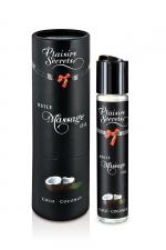 Huile de massage gourmande - Noix de coco - Huile de massage comestible avec goût coco exquis, par Plaisirs Secrets.