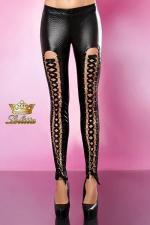 Agressive - Pantalon skinny - Pantalon en tissus extensible effet peau de serpent, lacé devant sur des anneaux D dorés.