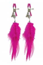 Pinces mamelons à plume - Paire de pinces à seins Fetish Fantasy Series, ornées de plumes à leur extrémité.