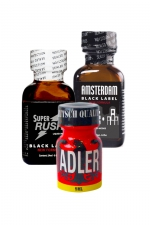 Pack Expert 3 poppers - Pack Expert de 3 poppers au pentyle:  Adler 9ml, Amsterdam Black Label 24ml et Super Rush Black Label 24ml.