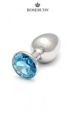Rosebuds cristal medium aquamarine - Le plus connu des rosebuds dans sa taille classique, avec un bijou en cristal Swarovski  coloris  aquamarine .