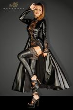 Manteau Divalicious - Manteau long en wetlook décoré de dentelle sur les manches, fermé par un unique clip métal devant.